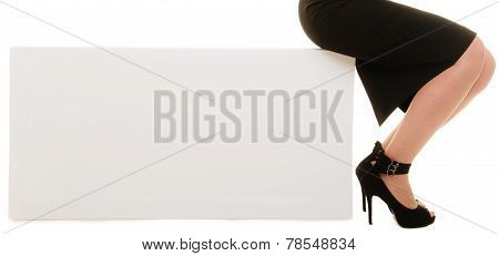 Ad. Blank Copy Space Banner And Female Legs