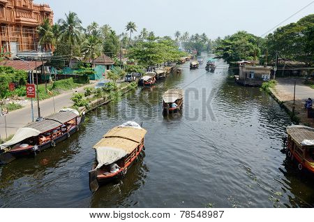 Tourist boats at Kerala backwater,famous tourist place