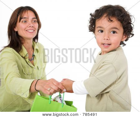 happy kid receiving a gift