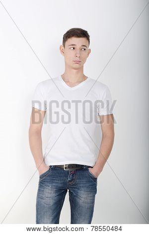 Handsome male model in sports shirt