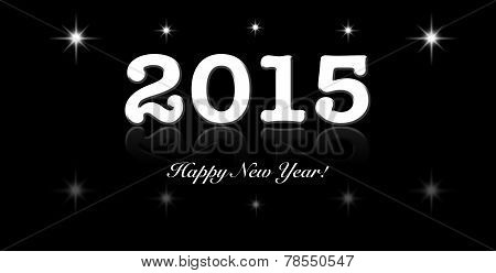2015 Year Text Design With Black And White