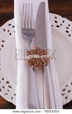 Christmas Handmade Decoration: White Plate Serviette Fork Knife With  Brown Crochet Snowflake