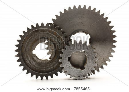 Steel Cogwheels On White Background