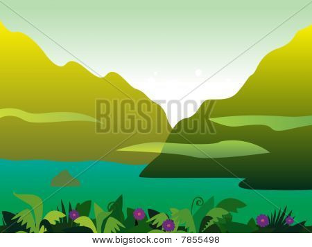 Mountain and jungle landscape background