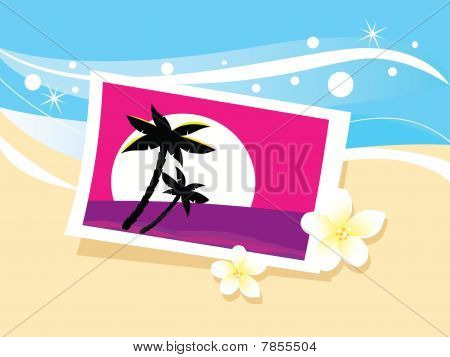 Vacation photo in sand. Vector cartoon illustration.