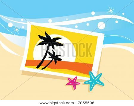 Vacation photo in sand. Vector cartoon illustration