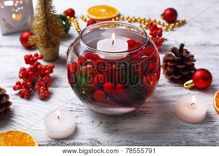 Floating candles in water and Christmas decor