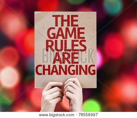 The Game Rules Are Changing card with colorful background with defocused lights