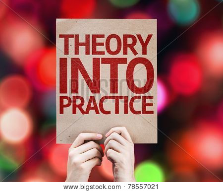 Theory Into Practice card with colorful background with defocused lights