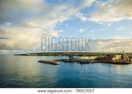 The harbor in Bridgetown Barbados at dawn.