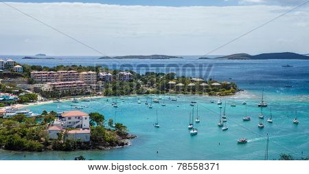 aerial panoramic view of cruz bay, st johns, us virgin islands