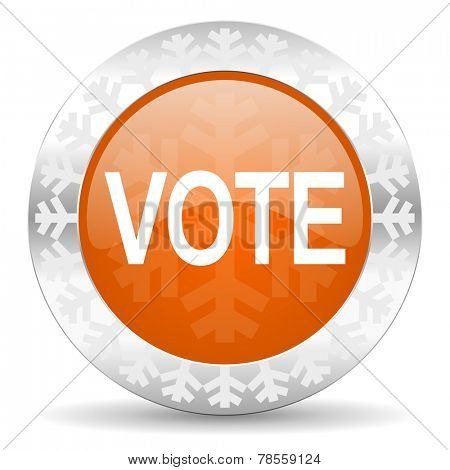 vote orange icon, christmas button