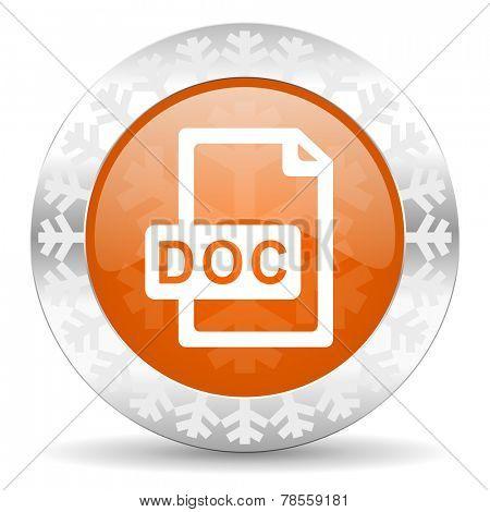 doc file orange icon, christmas button