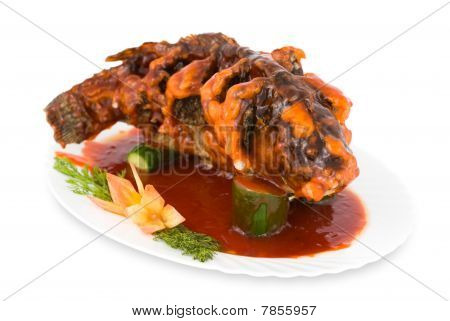 Chinese Food. Fried Carp With Sweet Sauce, Clipping Path.