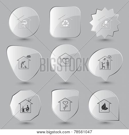 Home set. Vector glass buttons.