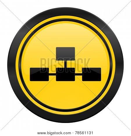 database icon, yellow logo,