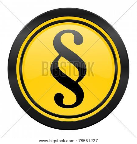 paragraph icon, yellow logo, law sign
