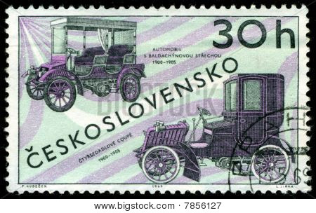 Vintage Postage Stamp. Old Cars.