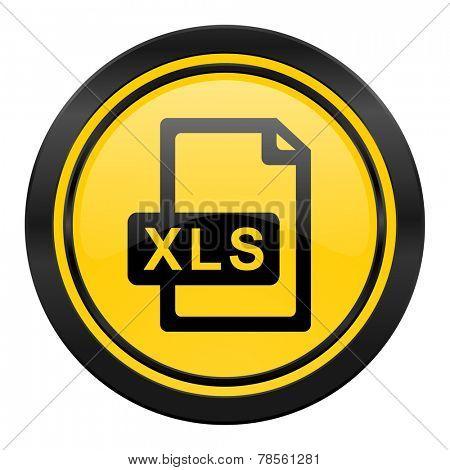 xls file icon, yellow logo,