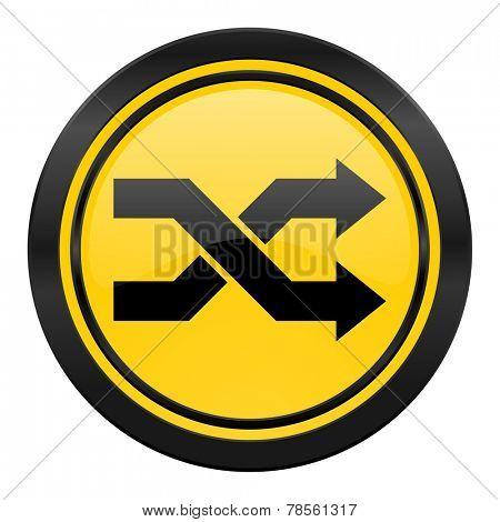 aleatory icon, yellow logo,