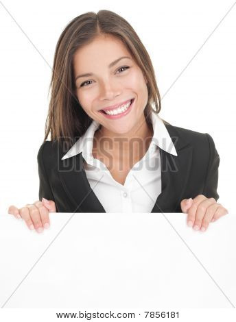 Business Woman White Sign Board