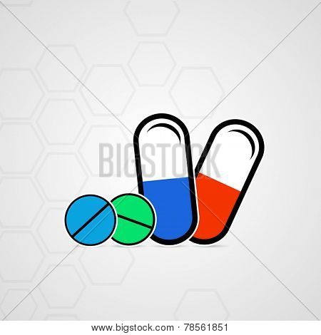 Illustration of capsules and tablets on grey background.