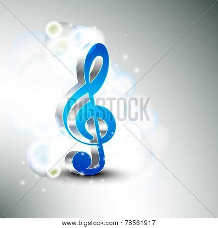 3D g-clef on shiny stylish background.