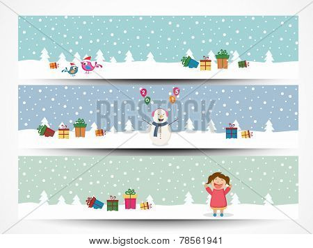 Set of website header or banner for Merry Christmas celebration.