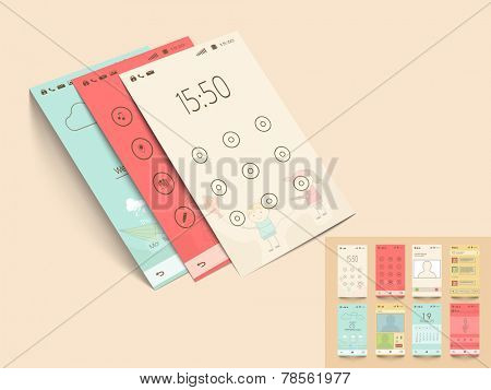 Mobile interface design with lock screen layout and other features in multiple color options on beige background.
