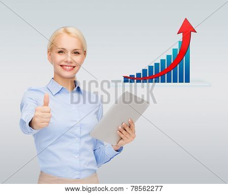 business, people, success , technology and statistics concept - young smiling businesswoman with tablet pc computer showing thumbs up over gray background and growth chart