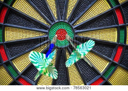 darts arrows in the target center, Darts game , arrows and darts target the exact game