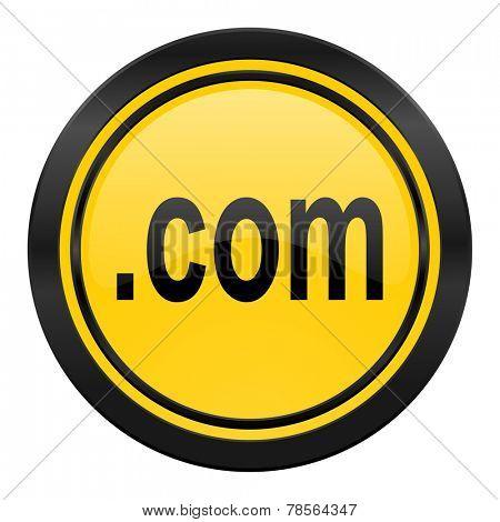 com icon, yellow logo,