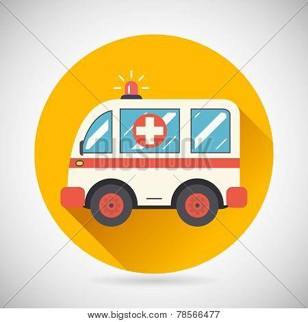 Ambulance Car Hastens Aid Rescue Icon Heal Treatment Symbol on Stylish Background Modern Flat Design