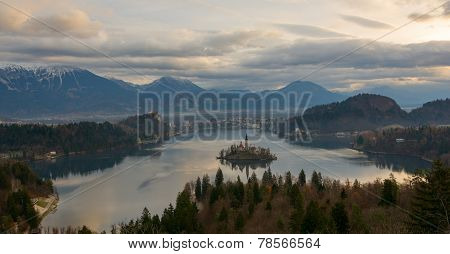 View of lake Bled from above
