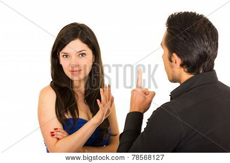 young attractive couple fighting