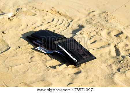 Wallet In The Beach