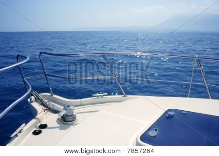 Boat Bow Sailing Sea With Anchor Chain Winch