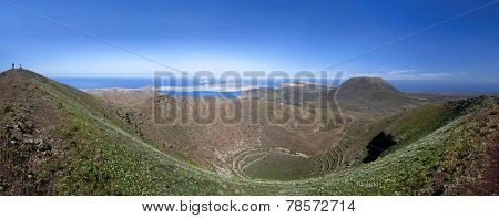 Lanzarote - Caldera of the volcano Los Helechos