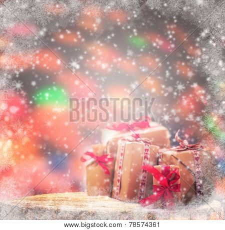 Winter Background Wrapped Gifts Wooden Trunk Snowing