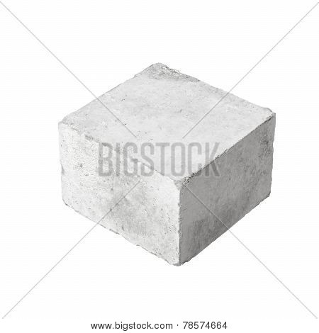 Big Concrete Construction Block Isolated On White