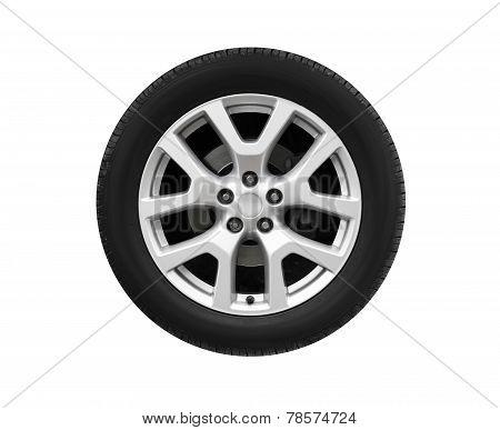 Automotive Wheel On Light Alloy Disc Isolated On White