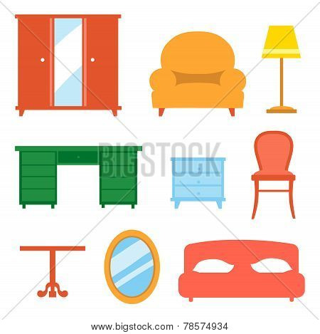 Interior indoor living room design elements set isolated  illustration