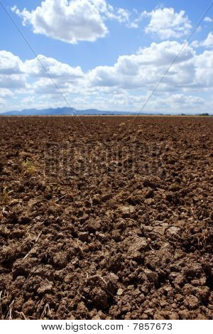 Plough Plowed Brown Clay Field Blue Sky Horizon