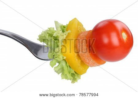 Vegetarian, Veggie Or Vegan Eating Salad With Fork