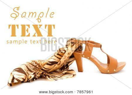Elegant Shoes Of Orange Colour With A Leopard Silk Scarf