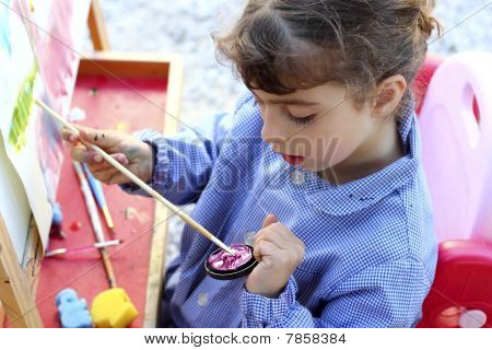 Artist School Little Girl Painting Watercolors Portrait