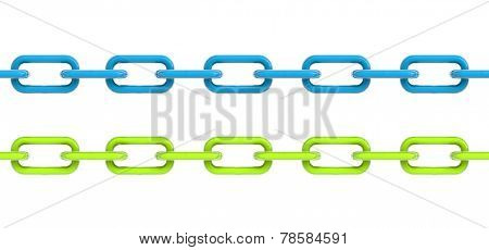 Two Isolated Chains On White Background