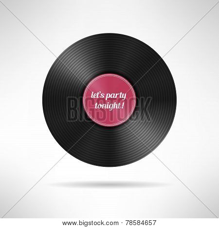 Realistic vinyl disc record. Vintage music player icon. Vector illustration