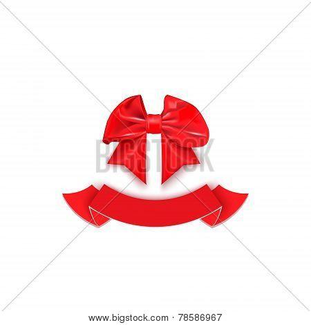 shiny satin red bow with ribbon