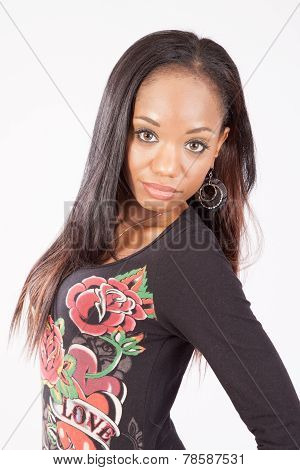 Pretty black woman looking at the camera with a smile